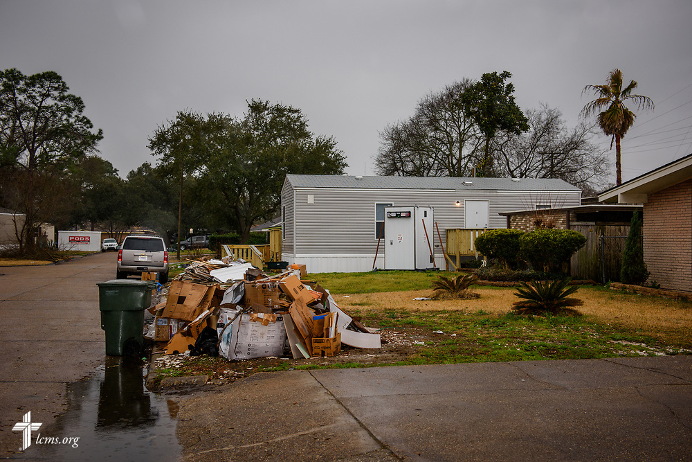 Debris and a trailer in a neighborhood still recovering from Hurricane Harvey on Wednesday, Feb. 7, 2018, in Port Arthur, Texas. LCMS Communications/Erik M. Lunsford