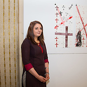 23.03.16<br /> LSAD are delighted to host SYMBOLS: Culture of Death and Cultural Life, a Creative Europe Project under the European Commission. <br /> <br /> Attending the exhibition was exhibiting artist Elizabeth Cleary with her piece Unmarked Grave.<br /> <br /> LSAD are one of the seven partners in this Creative Europe project which is running from 2014-2016. This exhibition will feature work from international printmakers, dancers and musicians from 7 European countries. This show embraces not only the work created by these artists during two residencies responding to the theme of symbols, one in Aviles, Spain and one in Dundee Scotland and includes work by Limerick artists, musicians and dancers, Gemma Dardis, Mary O'Dea, Jennifer Brown and Hannah Fahey, but also offers a response by the students of the printmaking department in LSAD to the historic Limerick cemeteries of Mount St. Lawrence and St. John's. The students created an exciting and thought provoking body of work which is showing along side these international artists. Picture: Alan Place/Fusionshooters