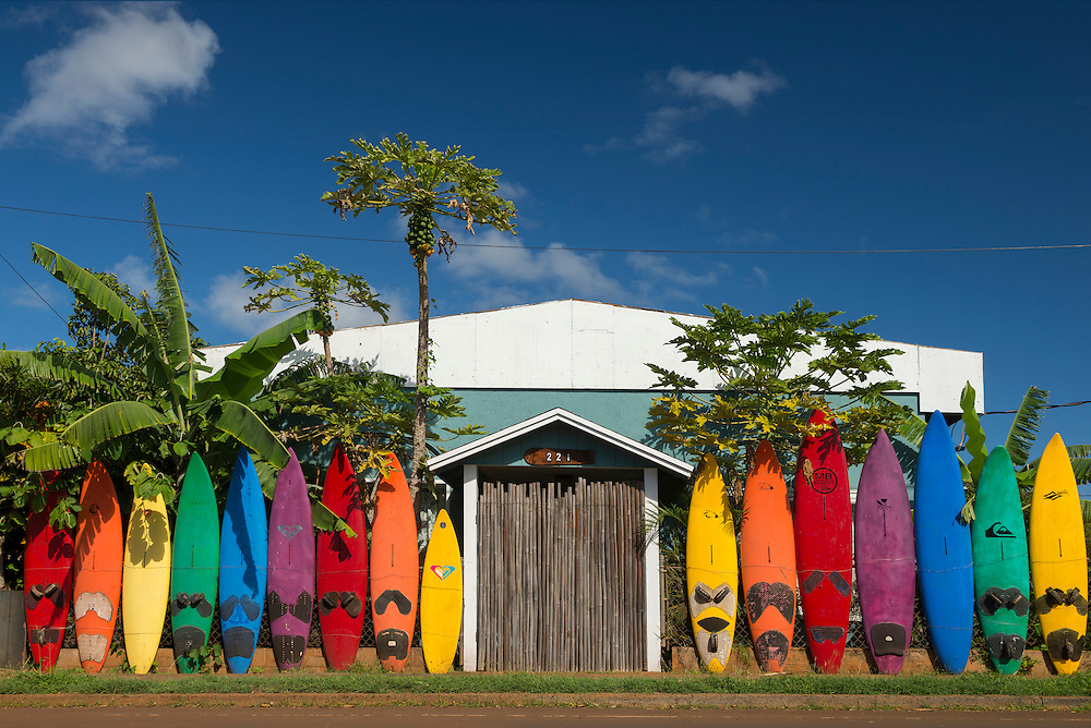 USA, Hawaii, Maui , Paia, surfboards, house