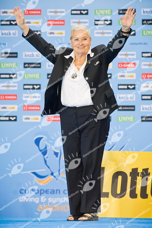 Cicci Tudini waves to the audience during the medal ceremony.European Synchronised Swimming Championships Eindhoven 2012.Duets Technical Routine - Final .Eindhoven (Netherlands), 27/05/2012, Pieter Van Den Hoogenband Swimming Stadium.ph. Giorgio Perottino / Deepbluemedia