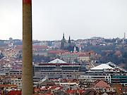 Prager Stadtpanorama - in der Mitte das Hotel Hilton und im Hintergrund die Prager Burg. Im Vordergrund das Stadteil Karlin.<br /> <br /> Prague urban landscape - in the middle Hotel Hilten and Prague Castle. In the foreground Prague quater Karlin.