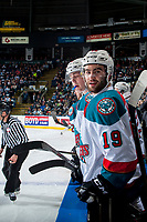 KELOWNA, CANADA - APRIL 26: Dillon Dube #19 of the Kelowna Rockets stands on the bench against the Seattle Thunderbirds on April 26, 2017 at Prospera Place in Kelowna, British Columbia, Canada.  (Photo by Marissa Baecker/Shoot the Breeze)  *** Local Caption ***