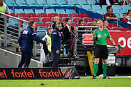 Western Sydney Wanderers coach Markus Babbel argues with the official at the Hyundai A-League Round 8 soccer match between Western Sydney Wanderers FC and Sydney FC at ANZ Stadium in NSW, Australia