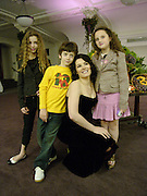 Nigella Lawson with her children, Bruno Diamond, Mimi Diamond and Phoebe Saatchi ( pink skirt) i, 'Feast Food that celebrates Life' by Nigella Lawson- book launch. Cadogan Hall, Sloane Terace. 11 October 2004. ONE TIME USE ONLY - DO NOT ARCHIVE  © Copyright Photograph by Dafydd Jones 66 Stockwell Park Rd. London SW9 0DA Tel 020 7733 0108 www.dafjones.com