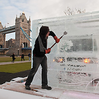 LONDON, ENGLAND - FEBRUARY 09:  Photocall for the Cube In A Cube Installation where Celebrity Tattoo Artist, Henry Hate, etched a Tattoo into a giant ice cube as part of the launch of the Nissan Cube  on February 9, 2010 in London, England.  (Photo by Marco Secchi/Getty Images)