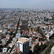 A panoramic view of Ho Chi Minh City from the viewing level of The Bitexco Financial Tower in Ho Chi Minh City, Vietnam. 3rd March 2012. Photo Tim Clayton