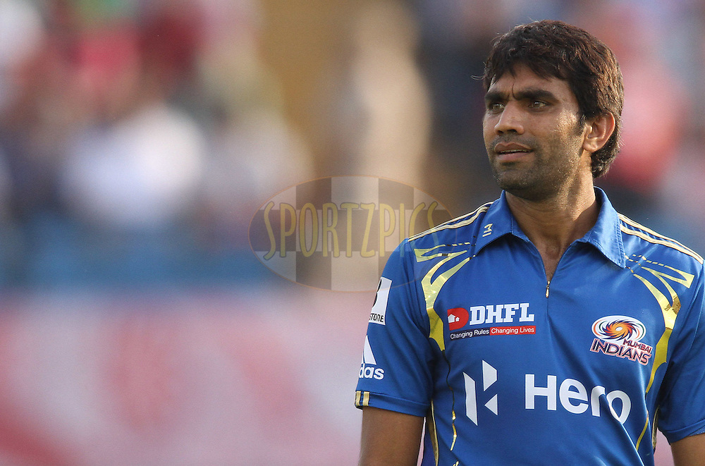 Munaf Patel of the Mumbai Indians during match 33 of the the Indian Premier League (IPL) 2012  between The Kings X1 Punjab and The Mumbai Indians held at the Punjab Cricket Association Stadium, Mohali on the 25th April 2012..Photo by Shaun Roy/IPL/SPORTZPICS