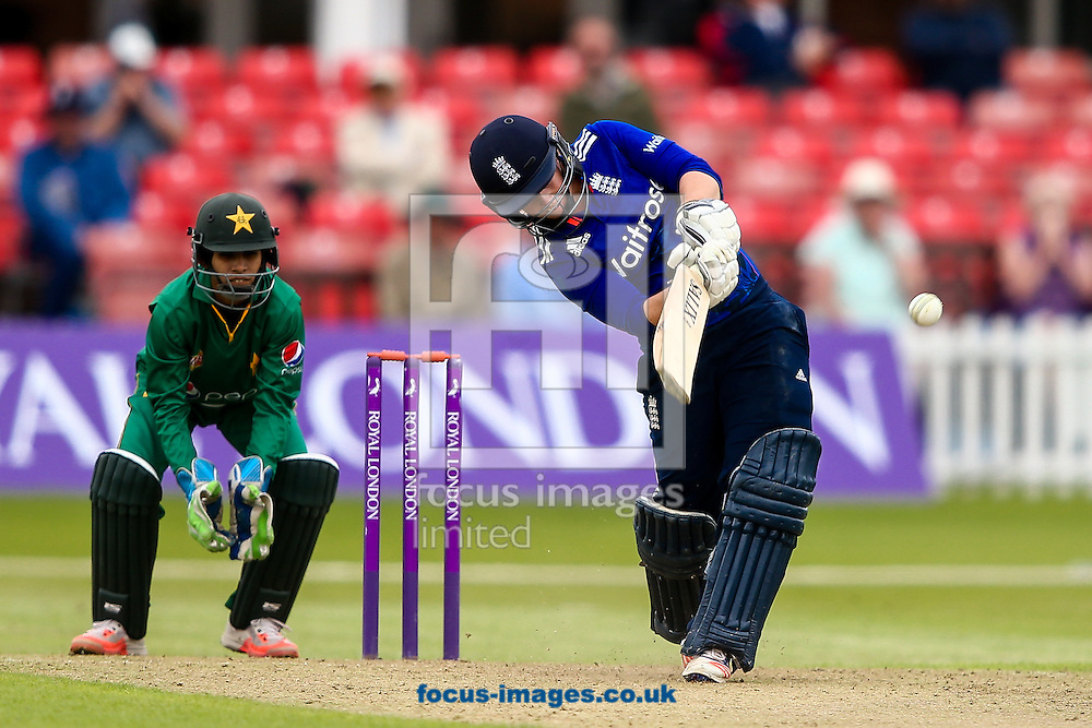 Tammy Beaumont of England hits the ball to the boundary for four during the Royal London One Day Series match at Fischer County Ground, Leicester<br /> Picture by Andy Kearns/Focus Images Ltd 0781 864 4264<br /> 21/06/2016