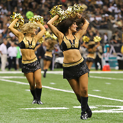 August 17, 2012; New Orleans, LA, USA; New Orleans Saints Saintsations cheerleaders perform during the second half of a preseason game against the Jacksonville Jaguars at the Mercedes-Benz Superdome. The Jaguars defeated the Saints 27-24.  Mandatory Credit: Derick E. Hingle-US PRESSWIRE