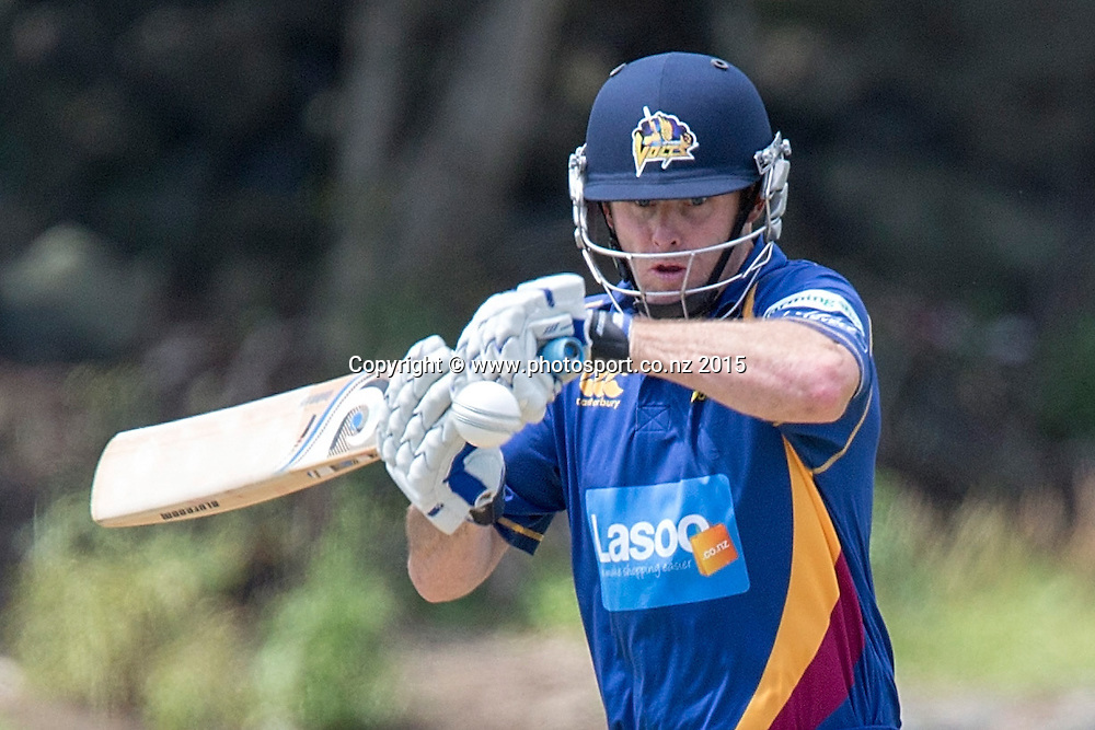 Volts` captain Aaron Redmond bats in the Auckland Aces v Otago Volts, One Day Ford Trophy Cricket Match, Eden Park, Auckland, New Zealand, Friday, January 02, 2015. Photo: David Rowland/Photosport