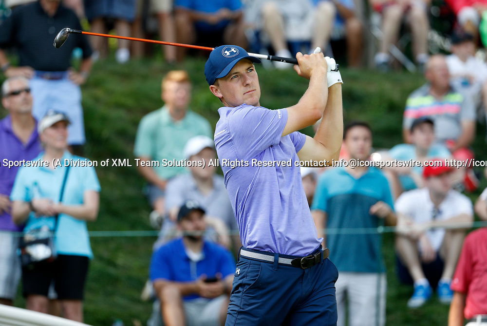CROMWELL, CT - JUNE 23: Jordan Spieth watches his drive on 17 during the second round of the Travelers Championship on June 23, 2017, at TPC River Highlands in Cromwell, Connecticut. (Photo by Fred Kfoury III/Icon Sportswire)
