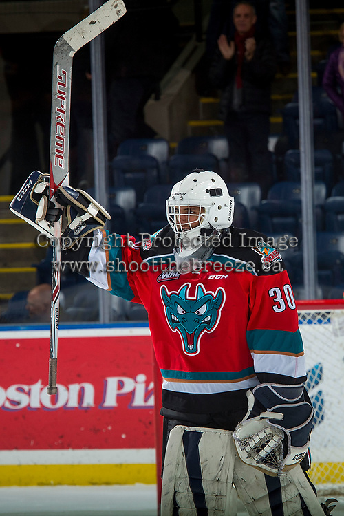 KELOWNA, CANADA - NOVEMBER 25: Roman Basran #30 of the Kelowna Rockets salutes fans after his first shut out and win against the Medicine Hat Tigers on November 25, 2017 at Prospera Place in Kelowna, British Columbia, Canada.  (Photo by Marissa Baecker/Shoot the Breeze)  *** Local Caption ***