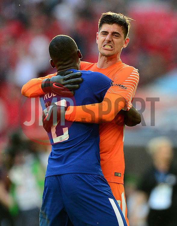 Thibaut Courtois of Chelsea celebrates with Antonio Rudiger of Chelsea - Mandatory by-line: Alex James/JMP - 19/05/2018 - FOOTBALL - Wembley Stadium - London, England - Chelsea v Manchester United - Emirates FA Cup Final