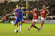 James O'Connor attempts to block Loic Remy shot during the Capital One Cup match between Walsall and Chelsea at the Banks's Stadium, Walsall, England on 23 September 2015. Photo by Alan Franklin.