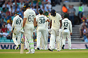 Wicket - Jofra Archer of England looks dejected as he walks back to the pavilion after being dismissed by Josh Hazlewood of Australia during the 5th International Test Match 2019 match between England and Australia at the Oval, London, United Kingdom on 12 September 2019.