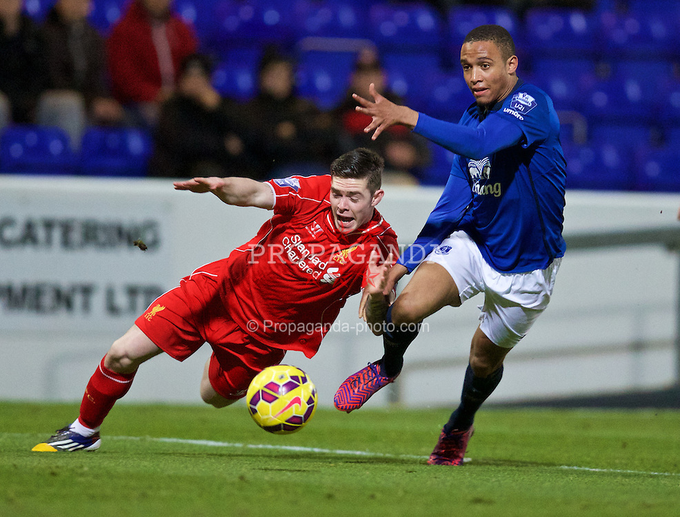 CHESTER, WALES - Monday, March 9, 2015: Liverpool's Jack Dunn in action against Everton's Brendan Galloway during the Under 21 FA Premier League match at Deva Stadium. (Pic by David Rawcliffe/Propaganda)