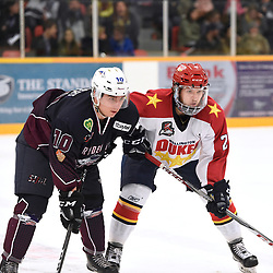 DRYDEN, ON - MAY 1: Malcolm Huemmert #10 of the Dryden GM Ice Dogs and Mitchell Mendonca #27 of the Wellington Dukes during the face-off during Game Two of the Central Canadian Junior Championship during the 2018 Dudley Hewitt Cup on May 1, 2018 at the Dryden Memorial Arena in Dryden, Ontario, Canada. (Photo by Andy Corneau/DHC via OJHL Images)