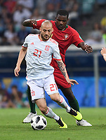 FUSSBALL WM 2018 Vorrunde Gruppe B 15.06.2018 Portugal - Spanien Manuel Fernandes (hinten, Portugal) gegen David Silva (vorn, Spanien) *** FIFA World Cup 2018 preliminary round Group B 15 06 2018 Portugal Spain Manuel Fernandes back Portugal against David Silva front Spain PUBLICATIONxNOTxINxAUTxSUIxITA