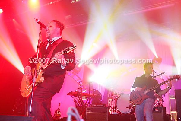 Blue October performing at The Nokia Theater in Times Square on September 26, 2007..Justin Furstenfeld -lead vocals, guitar.Ryan Delahoussaye -violin, mandolin, piano, vocals.Jeremy Furstenfeld -drums.C.B. Hudson -lead guitar, vocals.Matt Noveskey -bass, vocals