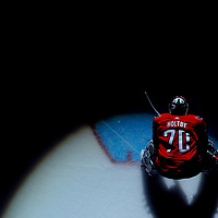 WASHINGTON, DC - JANUARY 7:  Washington Capitals goaltender Braden Holtby (70) stands in goal at the start of the game on January 07, 2018, at the Capital One Arena in Washington, D.C.  The Washington Capitals defeated the St. Louis Blues, 4-3 in overtime.  (Photo by Mark Goldman/Icon Sportswire)