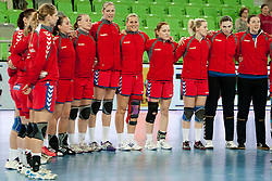 Team Czech Republic during handball match between Women National Teams of Slovenia and Czech Republic of 4th Round of EURO 2012 Qualifications, on March 25, 2012, in Arena Stozice, Ljubljana, Slovenia. (Photo by Urban Urbanc / Sportida.com)