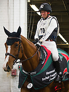 MICHAEL JUNG (GER) rides Cruising Guy in the victory ceremony after winning the Horseware Indoor Eventing Challenge at The Royal Horse Show in Toronto, Ontario.