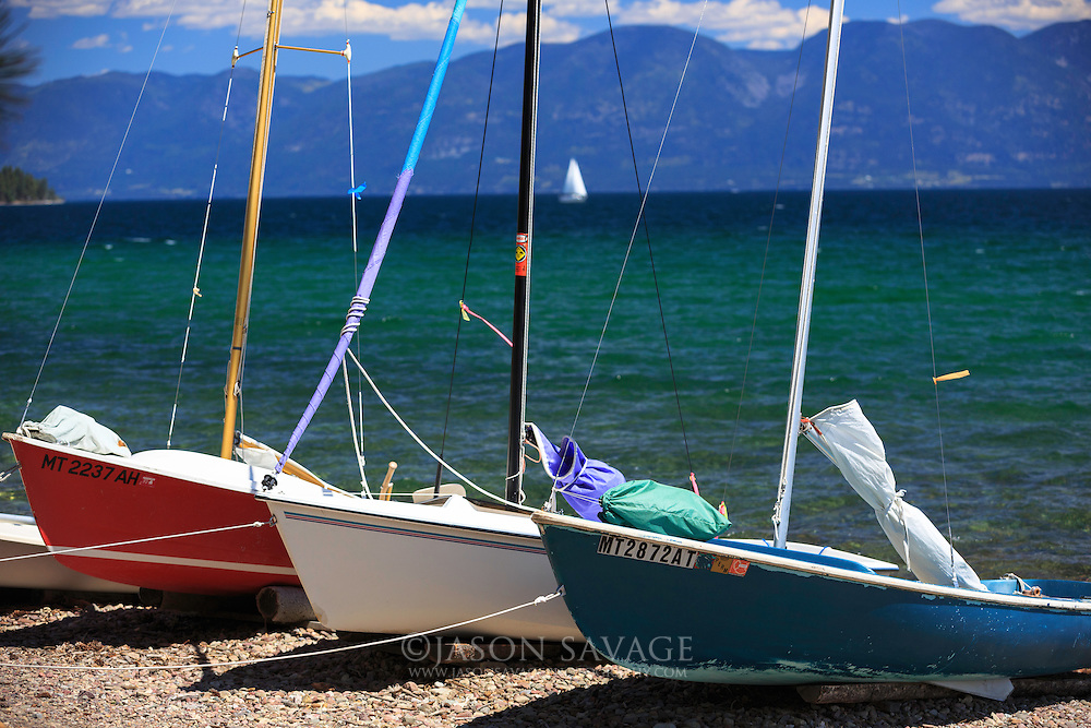 Sailboats on Flathead Lake, Montana.
