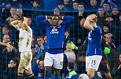 LIVERPOOL, ENGLAND - Sunday, January 24, 2016: Everton's Romelu Lukaku looks dejected after missing an injury time chance against Swansea City during the Premier League match at Goodison Park. (Pic by David Rawcliffe/Propaganda)