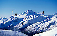 Skier gets big air of windlip with five helicopters and Mount Aspiring behind him. Heli-Chalenge New Zealand