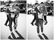 Able to leap buildings in a single bound, Karin demonstrates her Super Mom strength to twin sons, Timothy and Nathaniel after bowling.