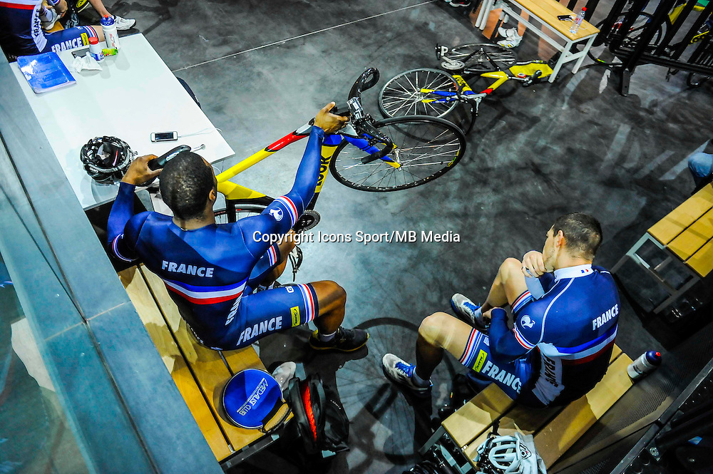 Gregory Bauge / Kevin Sireau - 27.01.2015 -Entrainement Equipe de France de cyclisme sur piste - Saint Quentin en Yvelines <br />Photo : Anthony Dibon / Icon Sport