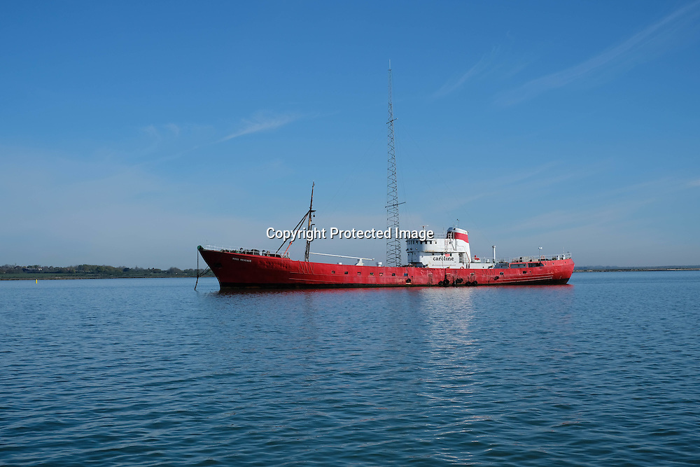 The floating home of pirate radio station Caroline is now rusting unused on the River Blackwater in Essex