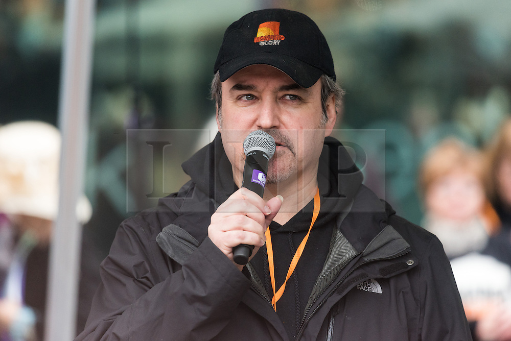 © Licensed to London News Pictures. 05/03/2017. Music composer DAVID ARNOLD takes part in a rally raising awareness of women and girls in third world countries who spend days walking for water. March also marks CARE's annual celebration for International Women's Day. London, UK. Photo credit: Ray Tang/LNP