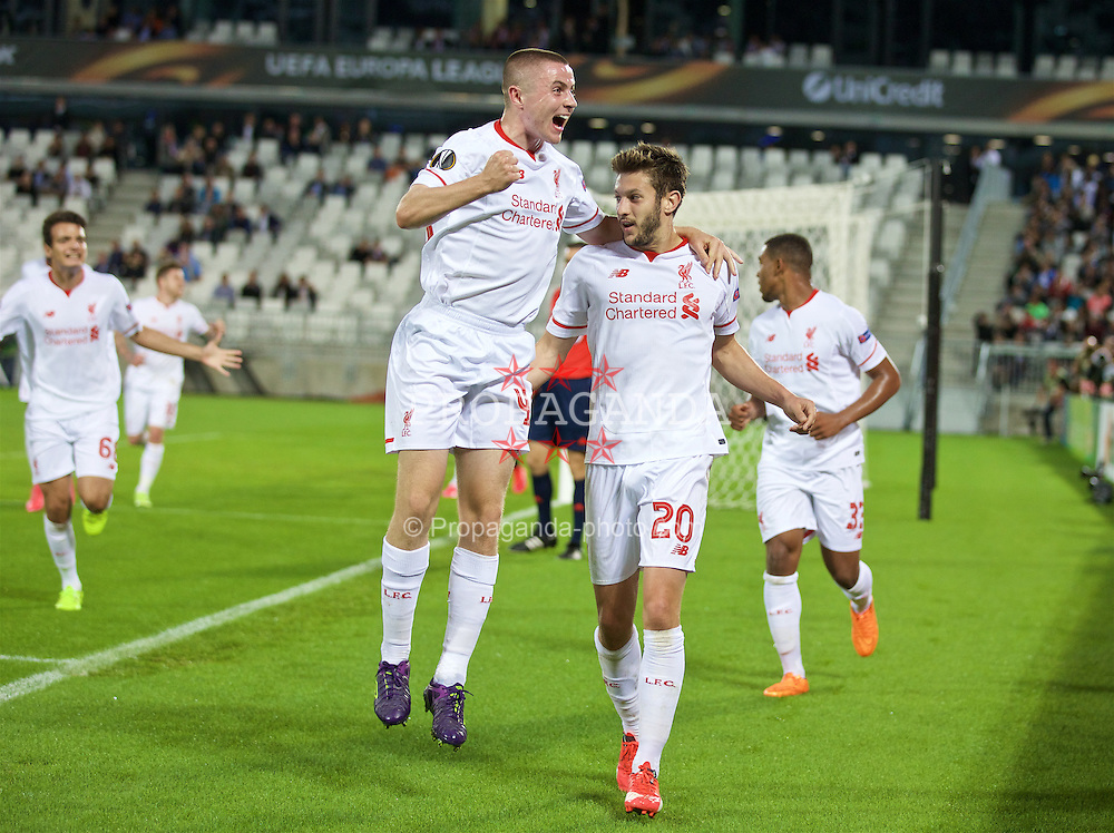 BORDEAUX, FRANCE - Thursday, September 17, 2015: Liverpool's Adam Lallana celebrates scoring the first goal against FC Girondins de Bordeaux with team-mate Jordan Rossiter during the UEFA Europa League Group Stage Group B match at the Nouveau Stade de Bordeaux. (Pic by David Rawcliffe/Propaganda)