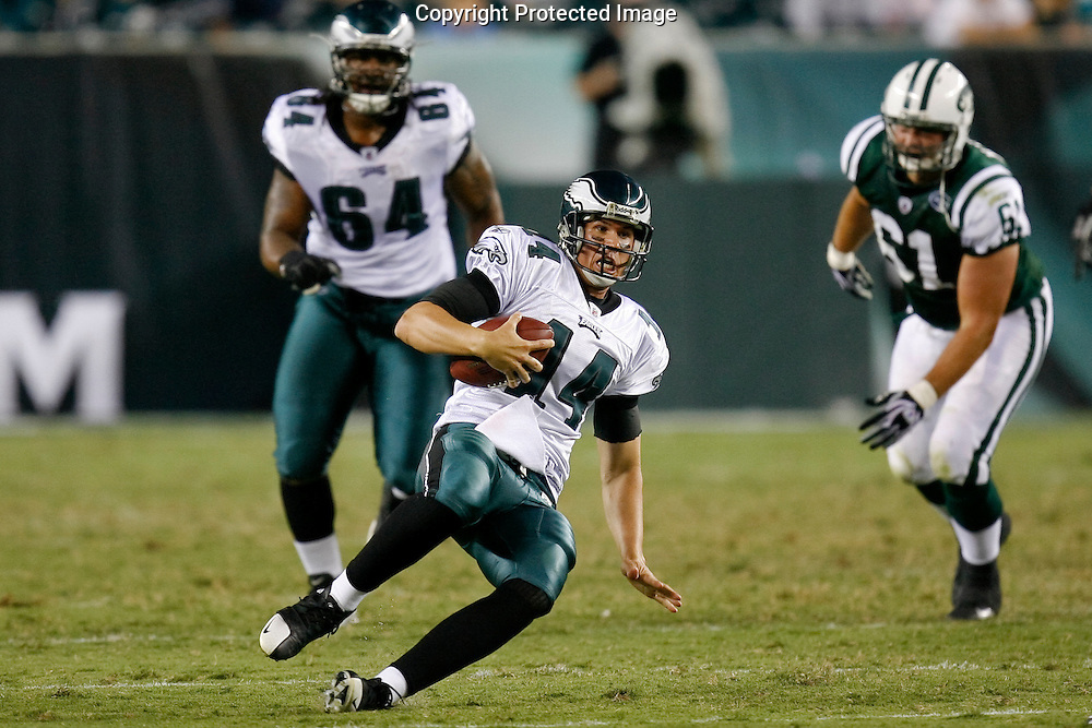 28 August 2008: Philadelphia Eagles quarterback A.J. Feeley #14 runs the ball during the game against the New York Jets on August 28, 2008. The Jets beat the Eagles 27 to 20 at Lincoln Financial Field in Phialdelphia, Pennsylvania.