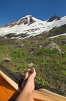 Relaxing on slopes of Heliotrope Ridge, Mount Baker Wilderness North cascades Washington
