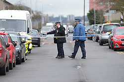 © Licensed to London News Pictures, 28/02/2018. London. UK, Police at the scene of a stabbing in Chadwell Heath, East London where a teenager was chased into Nash Road and stabbed. Paramedics treated the victim at the scene and transferred him to hospital where he later died   . Photo credit: Steve Poston/LNP