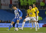 Brighton's Joao Teixeira on the ball during the Sky Bet Championship match between Brighton and Hove Albion and Derby County at the American Express Community Stadium, Brighton and Hove, England on 3 March 2015. Photo by Phil Duncan.