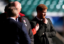 HRH Prince Harry visits an England open training session at Twickenham - Mandatory by-line: Robbie Stephenson/JMP - 16/02/2018 - RUGBY - Twickenham Stadium - London, England - England Rugby Open Training Session
