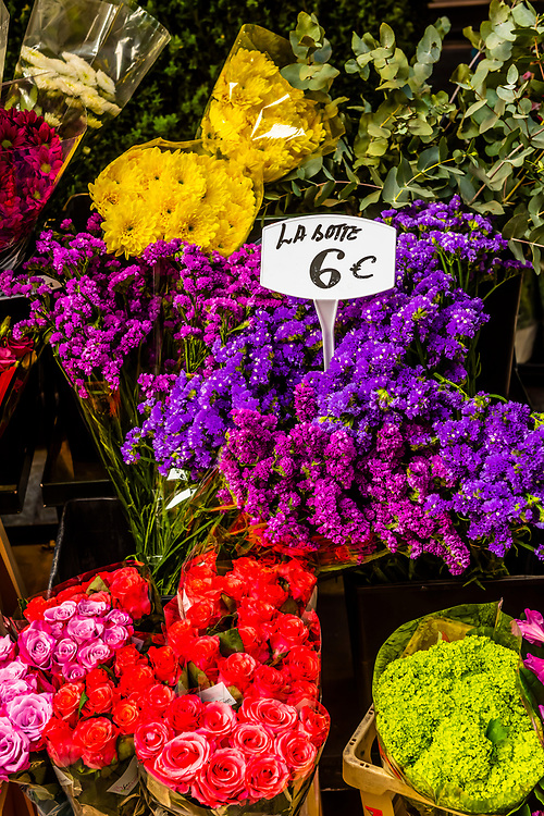 Flowers at a florist shop, Rue Cler street market, Paris, France.