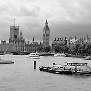 River Thames - Parliment - London, UK - Black & White