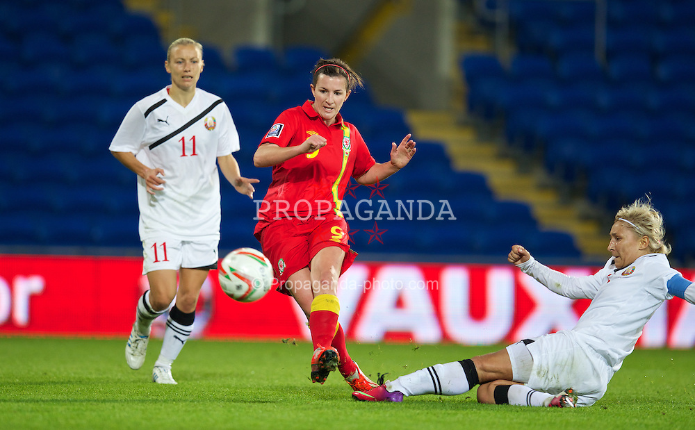 CARDIFF, WALES - Thursday, September 26, 2013: Wales' Helen Ward scores the first goal against Belarus during the FIFA Women's World Cup Canada 2015 - Qualifying Group 6 match at the Cardiff City Stadium. (Pic by David Rawcliffe/Propaganda)