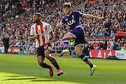Tottenham Hotspur defender Ben Davies with a vicious cross during the Barclays Premier League match between Sunderland and Tottenham Hotspur at the Stadium Of Light, Sunderland, England on 13 September 2015. Photo by Simon Davies.
