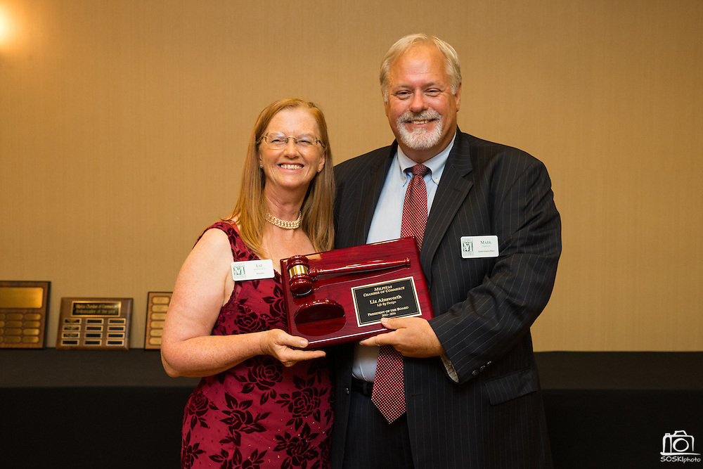 Former Chamber of Commerce President Liz Ainsworth receives an award from Director Mark Tiernan during the Milpitas Chamber of Commerce 59th Annual Awards and Installation Banquet at Sheraton San Jose Hotel in Milpitas, California, on July 28, 2016. (Stan Olszewski/SOSKIphoto)
