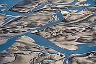 Water and mud flats (aerial), Copper River Delta, Wrangell-St. Elias National Park, Alaska
