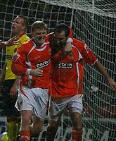 Photo: Richard Lane/Richard Lane Photography. Watford v Blackpool. Coca Cola Championship. 01/11/2008. Garry Taylor-Fletcher (R) and Claus Bech Jorgensen (L) celebrate the 3rd equaliser