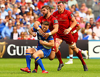 Rugby Union - 2018 Guiness Pro14 - Semi-Final: Leinster vs. Munster<br /> <br /> Ross Byrne (Leinster) is tackled by Rhys Marshall (Munster), at RDS Arena, Dublin.<br /> <br /> COLORSPORT/KEN SUTTON