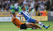 Brighton striker, Tomer Hemed penalty is saved and he cannot convert the rebound during the Sky Bet Championship match between Wolverhampton Wanderers and Brighton and Hove Albion at Molineux, Wolverhampton, England on 19 September 2015.