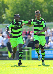 Keanu Marsh-Brown of Forest Green Rovers celebrates his goal with Dale Bennett of Forest Green Rovers- Mandatory by-line: Nizaam Jones/JMP - 07/05/2017 - FOOTBALL - New Lawn Stadium - Nailsworth, England - Forest Green Rovers v Dagenham and Redbridge - Vanarama National League Play-Off Semi-Final Second Leg