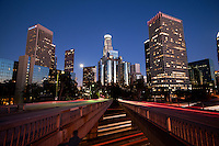 Downtown Los Angeles Skyline and 110 Freeway at Dusk, California